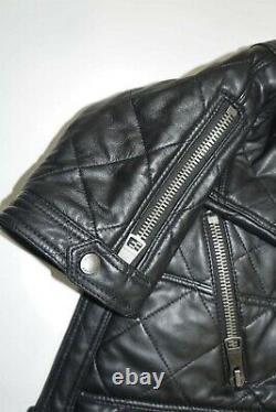 BURBERRY BRIT Black Lambskin Leather Quilted Moto Biker Jacket