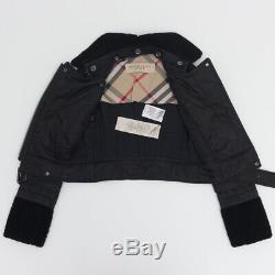 BURBERRY BRIT Real Shearling Motorcycle Moto Style Jacket Coat Black SIZE 2 XS