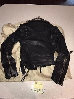 BURBERRY PRORSUM Womens Black Leather Leopard Collar Motorcycle Biker Jacket NWT