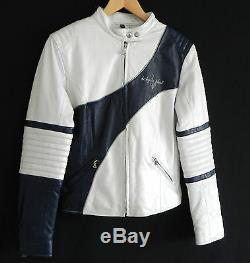 Baby Phat Leather Motorcycle Jacket Size S White & Navy Blue Tones Padded