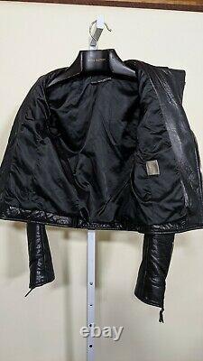 Balenciaga 2008 Plush Black Leather Moto Jacket 38 France Nicolas Ghesquiere