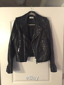 Balenciaga Authentic Black Leather Moto Jacket Size 44