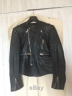 Balenciaga Black Quilted Motorcycle Leather Jacket Size 40
