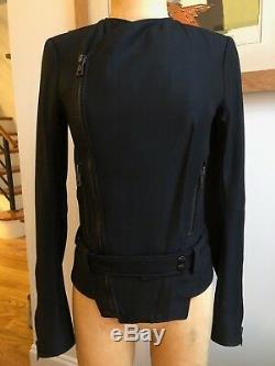 Balenciaga Black wool fitted moto biker jacket- sz 38 Ghesquiere