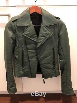 Balenciaga Leather Motocycle Jacket Size 36 Small Green
