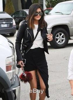 Balenciaga Moto Leather Jacket Blue Gray Slate Sz36 Celeb favorite, MUST SEE
