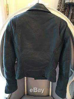 Balenciaga Moto Leather Jacket Motorcycle 36 Blue Grey Great Condition