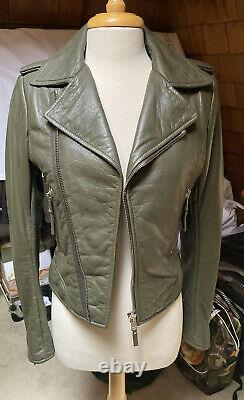 Balenciaga Olive Military Green Leather Zipped Moto Jacket SZ 42 Classic