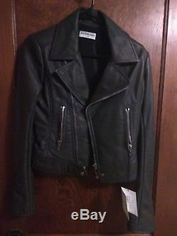 Balenciaga Paris Grey Leather Motorcycle Jacket Size 38 Unworn with tags Women's