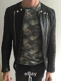 Balmain Homme Biker Leather Jacket Size M 48