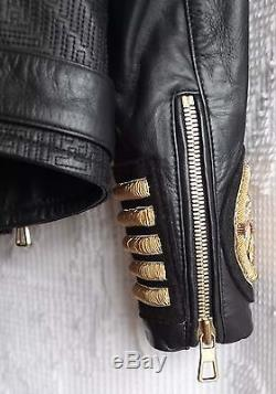 Balmain for H&M Men's Embroidered Leather Moto Jacket Black Embroidered Gold