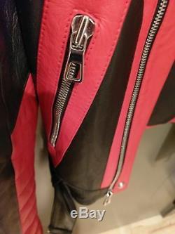 Balmain x H&M Mens Black Red Motorcycle Biker Leather Jacket size 40R