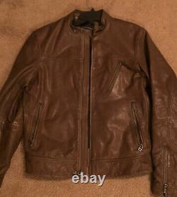 Banana Republic Moto Zip Mens Leather Jacket Brown Size Small SUPER SOFT