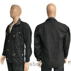 Barbour International Original Men's Waxed Wax Jacket Black A7 Biker 34 XXS XS