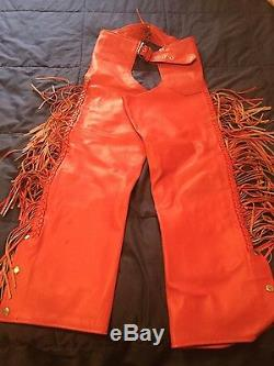 Beautiful red leather chaps and jacket slightly used