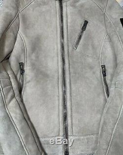 Bellstaff Leather Shearling Cafe Jacket Coat Mens 48 EU 38 R US Made In Italy