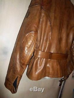 Belstaff Antique Brown Leather Panther Motorcycle Jacket Size L