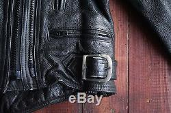 Belstaff Black Leather Heavy Padded Racing Motorcycle Jacket Biker Size 10/12