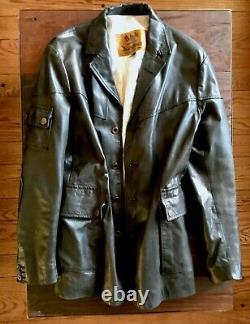 Belstaff Black Prince Leather Jacket XL Vintage Authenic from London Worn 3x