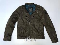 Belstaff Henfield Waxed Cotton Racer Biker Jacket Vintage Brown IT 48 UK 38 S M