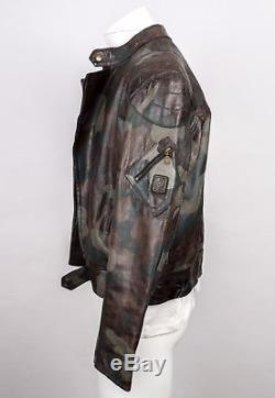 Belstaff Leathermaster Jacket Camouflage Camo George Clooney Cafe Racer Moto L