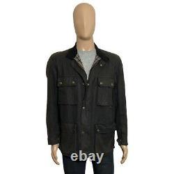 Belstaff Made In England Vintage Trialmaster Waxed Jacket Black Size Medium M 40
