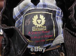 Belstaff Motorcycle Leather Jacket Adult Extra Large Black Coat Made England