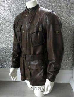 Belstaff Panther 1966 Dark Brown Leather Jacket UK XL 24 P2P