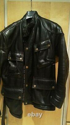 Belstaff Panther Leather Jacket Coat Small Black Made in Italy Original- V. Heavy