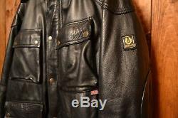 Belstaff Trialmaster Vintage Cafe Racer Motorcycle Biker Leather Jacket 48 XXL