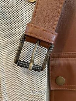 Belstaff Women's Leather Cotton Zip Up Motorcycle Jacket Medium Size 42