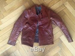 Bill Kelso Horsehide Leather Cossack Jacket Handmade 42 RRL Shawl Collar Campus
