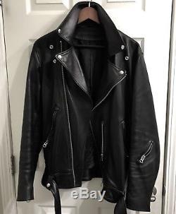 Black Acne Studios Mens Nate Leather Motorcycle Jacket 38 48 Medium $2K