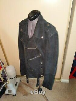 Blk Dnm Gray Suede Leather Motorcycle Jacket Size L Excellent Used Condition