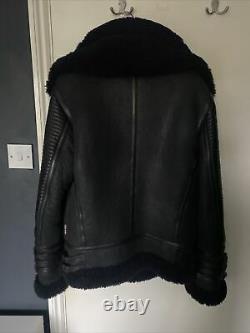 Boda Skin Black Warrior 2.0 Shearling Leather Jacket Size Medium