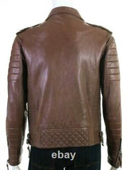 Boda Skins Mens Grain sheep nappa Leather Motorcycle Jacket quilted Brown L $550