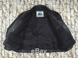 British Vintage Half Belt Leather Jacket L / XL Heavy Black Highwayman