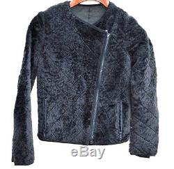 Brunello Cucinelli Black Mouton Shearling Leather Fur Motorcycle Jacket Coat 40