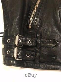 Burberry Brit Mens Black Leather Biker Jacket Size XL