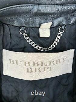 Burberry Brit Quilted Black Moto Biker Leather Jacket Size IT 36 US 2 XS XXS