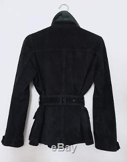 Burberry Jacket Suede Leather Navy Field Coat Waist Belt S UK 8 BURBERRY BRIT