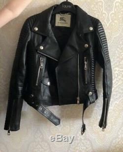 Burberry Prorsum Black Leather Motorcycle Jacket Sz36