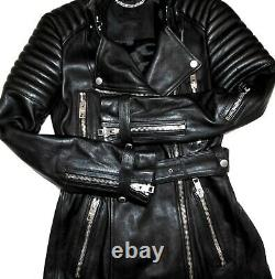 Burberry Prorsum Black Ribbed Leather Biker Runway Long Jacket Coat Runway IT 40