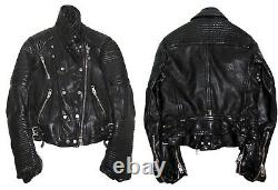 Burberry Prorsum Runway Black Quilted Leather Motorcycle Biker Jacket IT 42 US8
