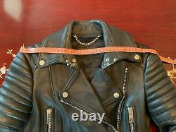 Burberry Prorsum SS11 Leather Biker Jacket Trench Motorcycle Coat IT 40 US 6