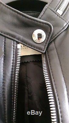 Burberry black leather biker style jacket size 10