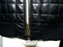 CHANEL Vintage 90s BLACK Lambskin Leather QUILTED MOTORCYCLE JACKET FR44-46