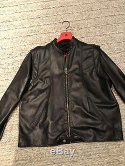CHROME HEARTS Mens Black Leather Jacket XL