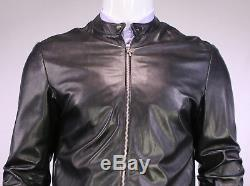 CHROME HEARTS Recent Authentic Black Zip Front Biker Leather Jacket Large