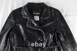 Chanel $12k Black Lambskin Braided-trim Cropped Moto Jacket (i'm Dead!) Fr36